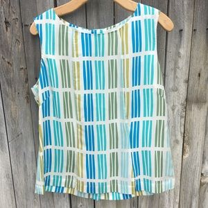 Boden Geo Print Button Back Blouse Ivory Blue 12